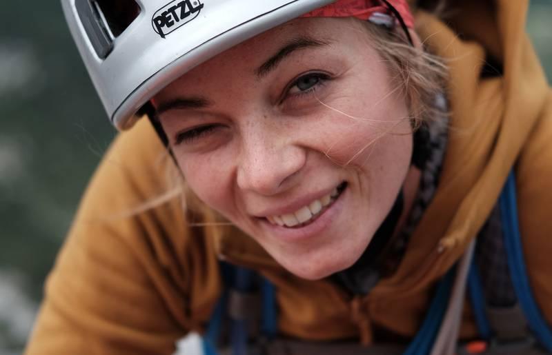 Sabrina Schütt beim Klettern