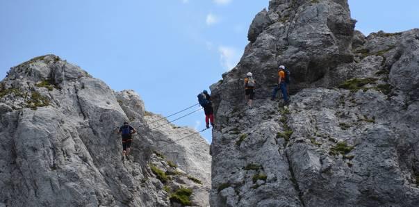 Däumling Klettersteig am Nassfeld beim Gartnerkofel, klettern