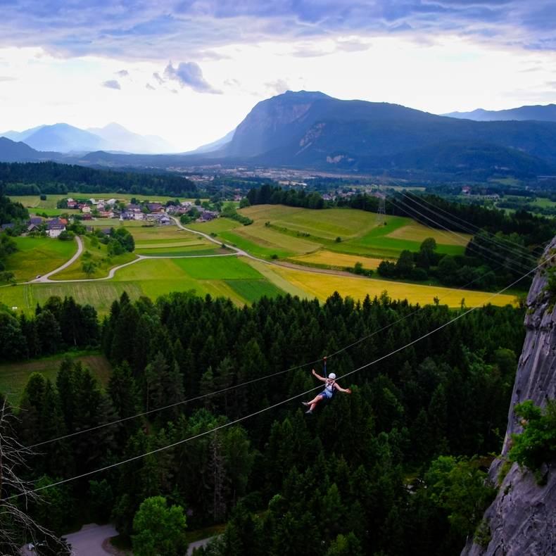 Am Magic Mountain Trail Kanzianiberg mit Highlife Flying Fox