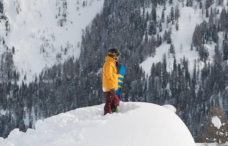 Mit dem Board in der Hand die Winterlandschaft bestaunen